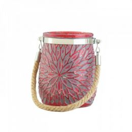 Red Glass Candleholder