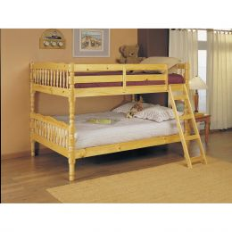 Full Over Full Bunk Bed with Ladder in Natural Light Wood Finish