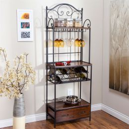 Sturdy Metal and Wood Bakers Rack with Wine Glass and Bottle Storage