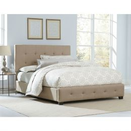 Queen Buckwheat Color Fabric Upholstered Bed with Tufted Headboard
