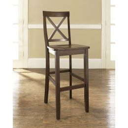 Set of 2 - X-Back 30-inch Solid Wood Barstool in Mahogany Finish