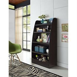 4-Shelf Bookcase in Espresso Wood Finish for Bedroom