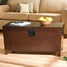 Contemporary Lift Top Coffee Table Storage Trunk in Espresso Finish