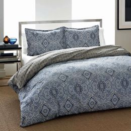 Twin size 2-Piece Cotton Comforter Set with Blue Gray Medallion Pattern