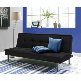 Black Microfiber Upholstered Futon Sofa Bed with Metal Legs