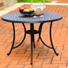 Round 42-inch Cast Aluminum Outdoor Dining Table in Charcoal Black