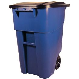 50 Gallon Blue Commercial Heavy-Duty Rollout Trash Can Waste/Utility Container