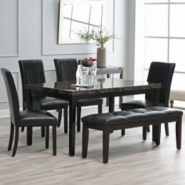 Espresso 6-piece Faux Marble Top Dining Set with 4 Chairs and Bench