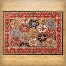 "5'3"" x 7'3"" Area Rug in Red Blue Black Oriental Pattern"
