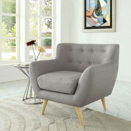 Gray Upholstered Mid-Century Style Armchair Accent Chair with Wood Legs