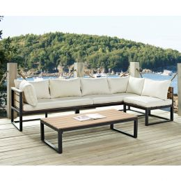 4-Piece Modern Outdoor Patio Furniture Set with Cushions