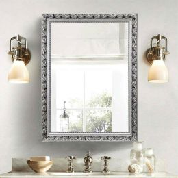Large 32 x 24 inch Bathroom Wall Mirror with Baroque Style Silver Wood Frame