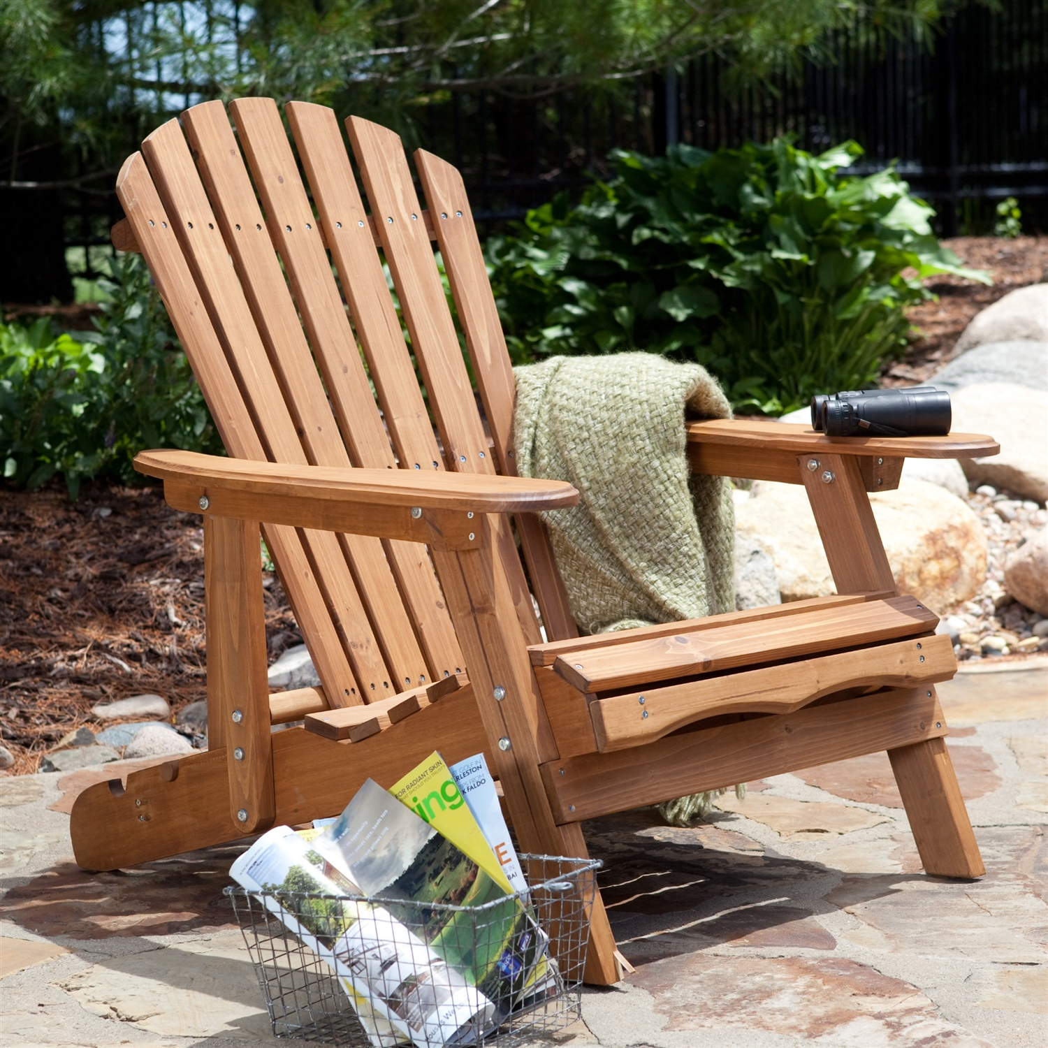 Picture of: Oversized Classic Adirondack Chair With Pull Out Ottoman In Natural