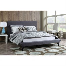 Queen size Grey Modern Classic Mid-Century Style Upholstered Platform Bed