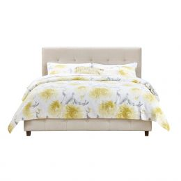 Queen Tan Linen Upholstered Platform Bed Frame with Button Tufted Headboard