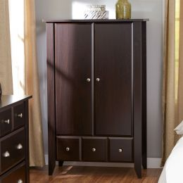 Bedroom Wardrobe Armoire Cabinet in Dark Brown Mocha Wood Finish