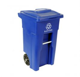 32 Gallon Blue Commercial Heavy-Duty Rollout Recycler Trash Can Container
