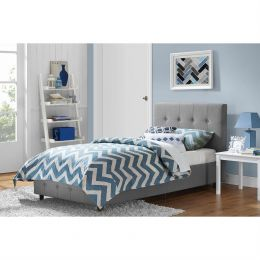 Twin size Grey Upholstered Platform Bed Frame with Button-Tufted Headboard