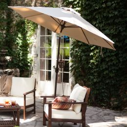 Tilt 9-Ft Patio Umbrella with Heather Beige Canopy and Antique Bronze Pole