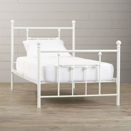 Twin size White Metal Platform Bed Frame with Headboard and Footboard
