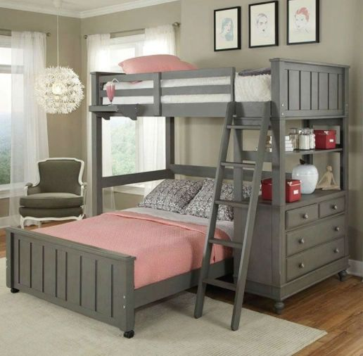 Twin Loft With Bed With Desk Chest And Ladder In Stone